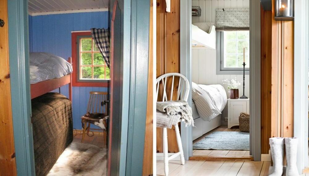 STOR FORANDRING: Forandringen kommer tydelig til uttrykk i soverommene, som er malt i hver sin farge. I hovedsoverommet er det blå skapet fjernet. Sengen den samme, men den har fått en ny kappe. Sengegavlen er også ny, fra Ikea. Stolen er arvet og lampen er fra Lama. Bildet på veggen er fra hytteeiers barndomshjem. På soverommet til venstre er køyesengen erstattet med plassbygde senger fra Olerud snekkerverksted. (FOTO: Sveinung Bråthen)