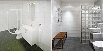 NYTT BAD: Det gamle badet hadde standard utførelse. Boligeieren ville oppgradere det, men uten å rive de gamle flisene eller flytte røropplegget.