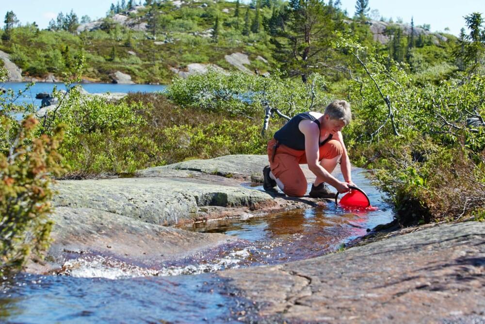 Henter vann: Det er ikke langt å gå til bekken for å hente rent fjellvann.