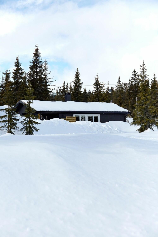 SNØRIKT: Hytta ligger i et snørikt område i ett av Sjusjøens eldste hyttefelt.