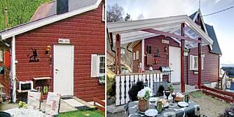 FØR OG ETTER: Hytta før takoverbygget var nakent og upraktisk, syntes hytteeier Siv Evensen. Hun ble inspirert til å sette opp et takoverbygg etter innspill fra Hyttelivs arkitekter.