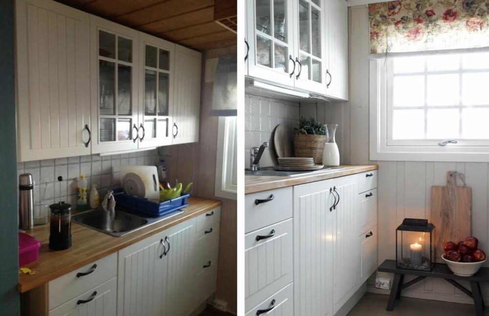 BEHOLDT KJØKKENET:  Det landlige Ikea-kjøkkenet sto der fra før. Hytteeierne ønsket  ikke å male det, men malte derimot flisene over benken. De ble først grunnet med Nordsjö Original Heftgrunn og deretter malt med Bengalack. Glans 90.