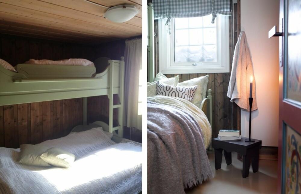 NYE TEKSTILER: Nye gardiner gir et lettere preg og slipper inn godt med lys på soverommet. Grunnbeis. Veggene på soverommet var beiset fra før. Det var denne fargen som ble utgangspunktet da Siv skulle blande til beisfargen til resten av hytta.