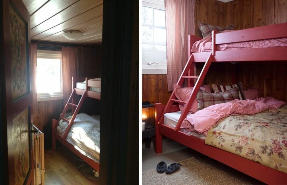 RØD TRÅD: Hytteeierne valgte tidlig rødt som en gjennomgående farge i hytta. De malte blant annet sengen på det ene soverommet rødt.