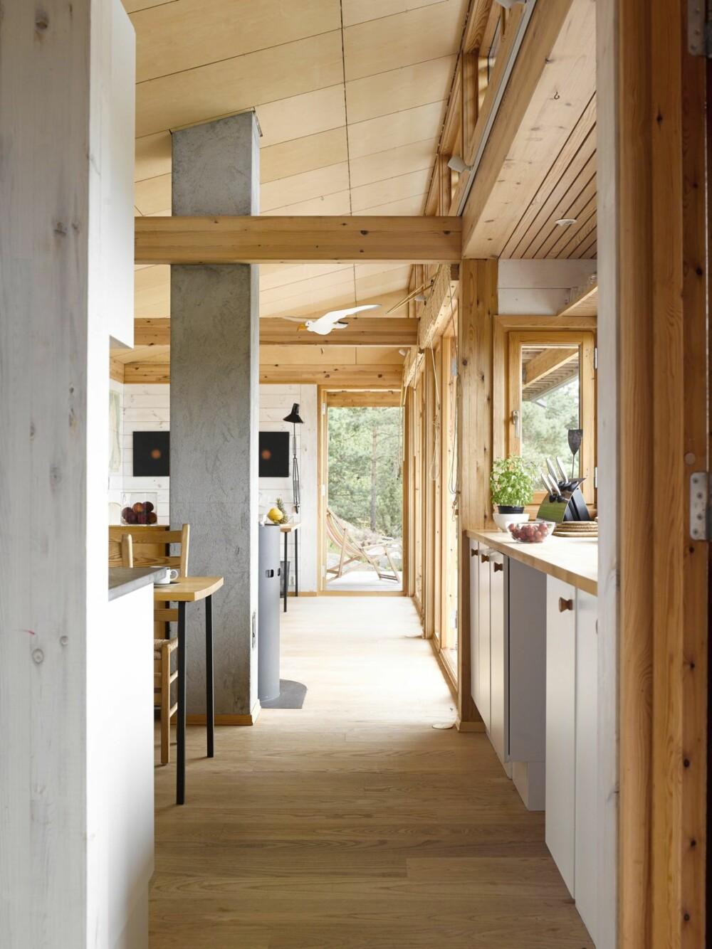 LANGSTRAKT: At hytta er smal og strukket som en strikk, gir mer rom for vindusflater, og dermed mer utsikt inn. Her er det en variert materialbruk som utgjør kontraster, fremfor en ellevill fargebruk.