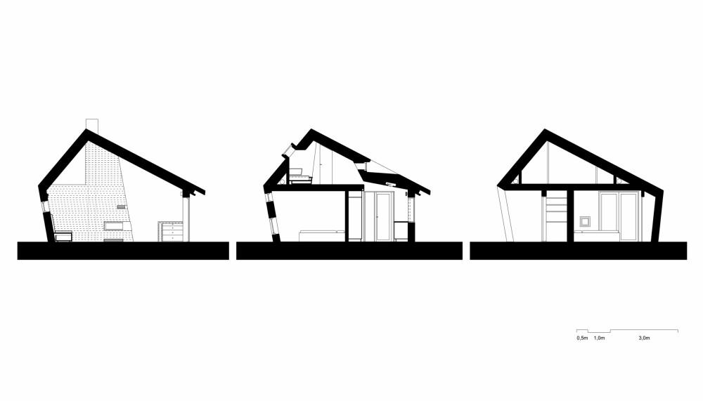VERTIKALSNITT: Disse tre snittene viser hvordan hytta er organisert med en første og en annenetasje. (FOTO: Olav Resell)
