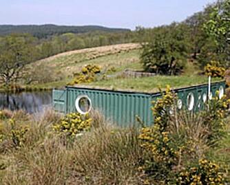 CONTAINER I NATUREN: I Skottland er tre containere blitt boliger integrert i naturen.