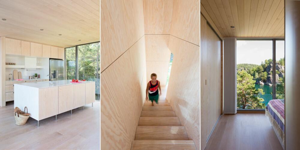 MODERNE: Til venstre: Kjøkkenøya fungerer både som arbeidsbenk og som anretningsflate. Materialvalget er inspirert av tresortene som vokser utenfor. Gulvet er i eik, himling og veggpanel er i bjørk, mens vegg og skapfronter er i furu. Midten: Trapperommet leder ned til baksiden av hytta og ekstrarommet nedenunder. Til høyre: Foreldresoverommet er plassert i enden av den fløyen som krager utover skråningen. Vinduet vender mot furukronene i forgrunnen og det grønne vannet med heiene i bakgrunnen. Garderoben befinner seg bak skyvedørene til venstre. Soveromsdøren er i frostet glass, så selv når den er lukket, strømmer dagslyset gjennom korridoren.