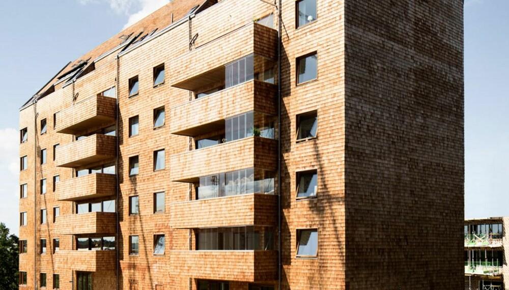 MURSTEIN?: Ved første øyekast kan det se ut som en teglsteinsbygning, men hele fasaden er kledd i trespon av sedar.
