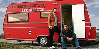 Det nyetablerte arkitektkontoret Fantastic Norway, med sine partenere Erlend Blakstad Haffner og Håkon Matre Aasarød, bruker bl.a en rød campingvogn for å fortelle om sin fantastiske virksomhet.