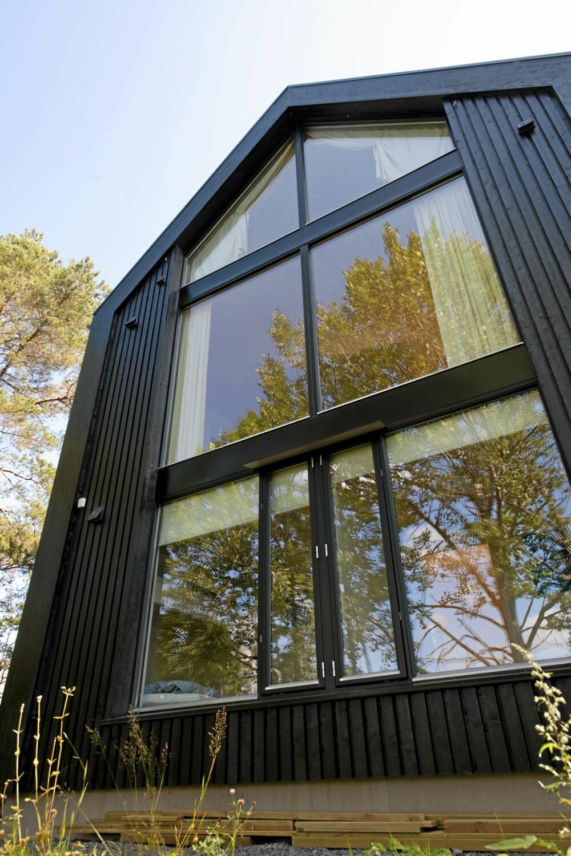 TROLSK MOT FURUSKOGEN: Fasaden mot skogen er imponerende. Her ser vi at hytta består av tre etasjer.