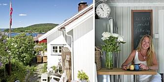 ENEBOLIG I SON: Flagget vaier på en gammel seilmast som interiørdesigner Marianne Hafskjold fant under uthuset. Gjenbruk er et stikkord både ute og inne i det hvitmalte huset fra 1874.