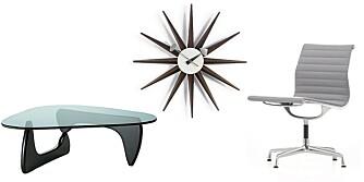 MODERNE KLASSIKERE: Coffee Table (Isamo Noguchi), Sunburst Wallclock (George Nelson) og Ea 108 (Charles & Ray Eames) er  amerikanske designklassikere.