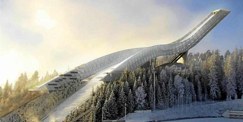 VINDSKJERMING: Bakken har 10 meter høye vindskjermer som skal skåne hopperne for omtrent 50 prosent av vinden.