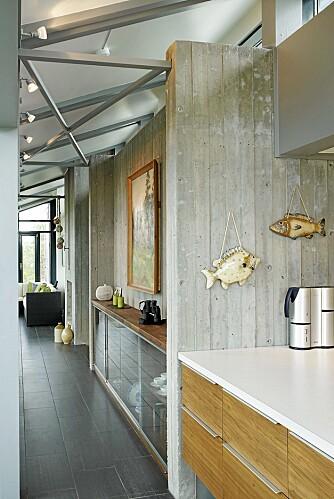 LINJER: Kjøkkenbenken er trukket inn i stuen med et spesialtilpasset skap i samme høyde.