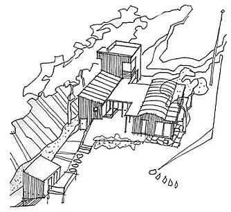 Plantegning over hytta på Skåtøy. Arkitekt Erik Collett, kritt arkitekter.