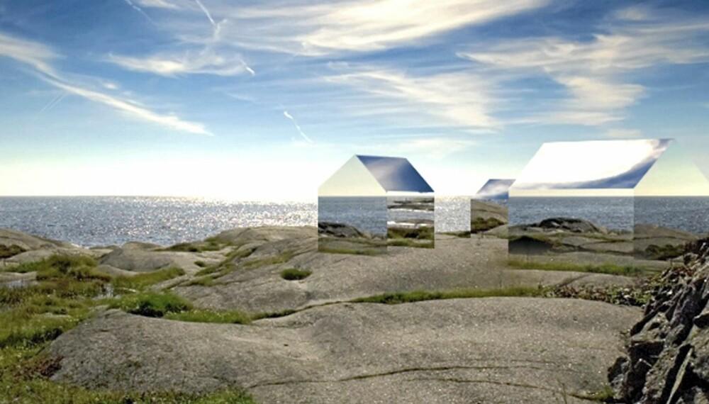 ILLUSJON ELLER VIRKELIGHET: Planen er at disse hyttene skal bli virkelighet i Nøtterøy-skjærgården.