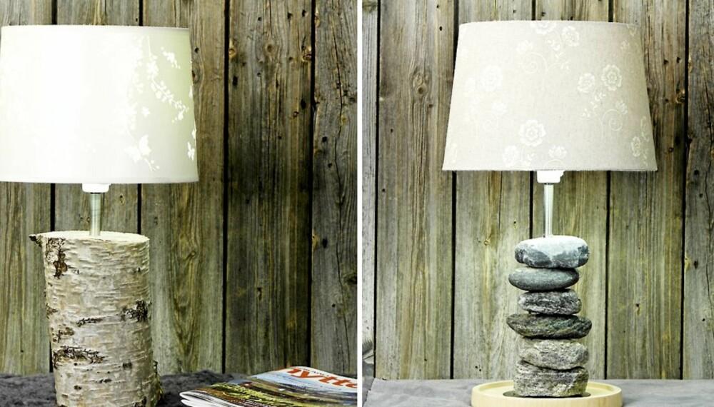FRA NATUREN: Disse to lampene kan du lage selv med materialer fra naturen.