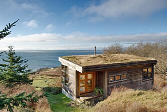 VARSOMHET: Huset er plassert forsiktig ned for å etterlate seg et minst mulig avtrykk. Stedegent gres på taket forsterker det naturgitte.