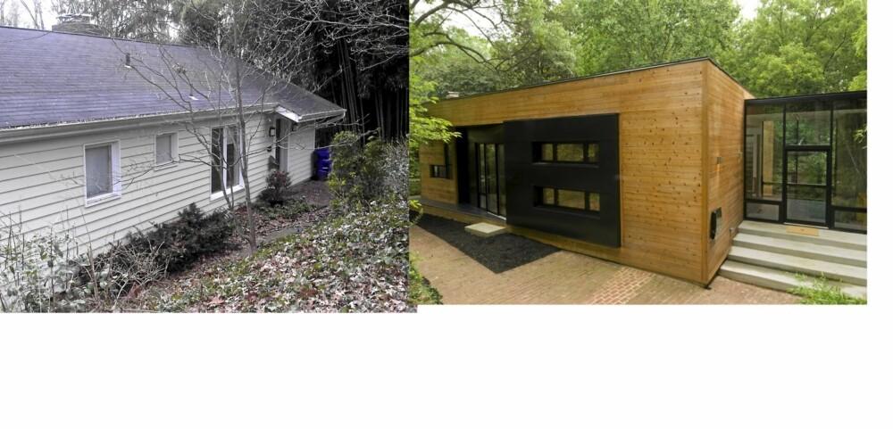 NYTT HUS: Alle innvendige vegger og tak ble revet. Kunden ønsket det nye huset bygget innenfor rammene til det gamle