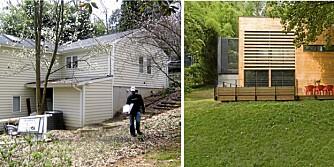 FØR OG ETTER: Det tradisjonelle etterkrigshuset har med hjelp fra arkitekter blitt forvandlet til et moderne funkishus.