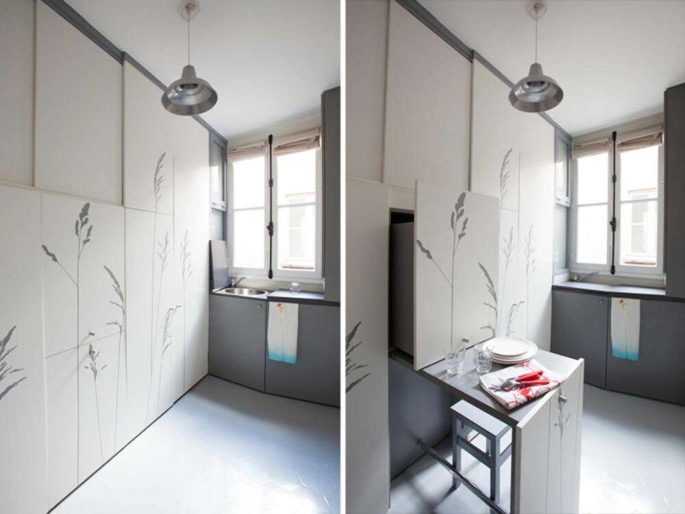KOMPAKT BOLIG: Det er nesten ikke til å tro alt de har fått plass til på 8 m2 i denne Paris-leiligheten.