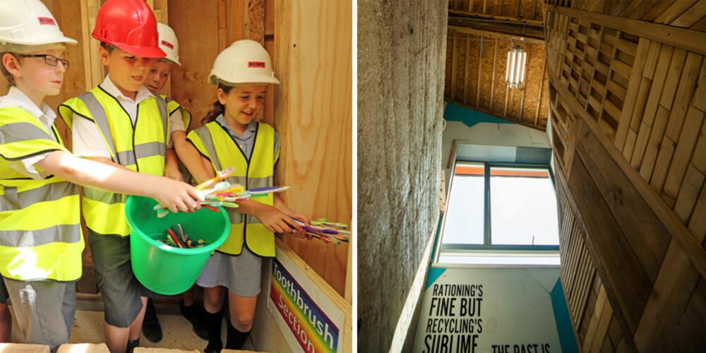 LEVENDE LABORATORIUM: Mang en engelsk skoleklasse har vært innom byggeprosjektet for å se hva man faktisk kan gjøre med ting vi tenker på som søppel.