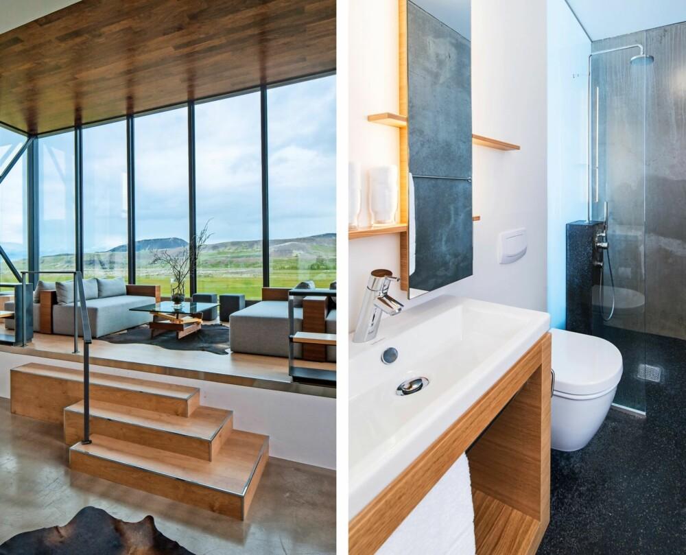 UTSIKT: Store vinduer fra gulv til tak slipper naturen inn, og gjør at du kommer tett på det trolske islandske landskapet. NATURELEMENTER: Også badets interiør gjenspeiler naturens røffe elementer. Her er lavafarget gulv og stein på veggene.
