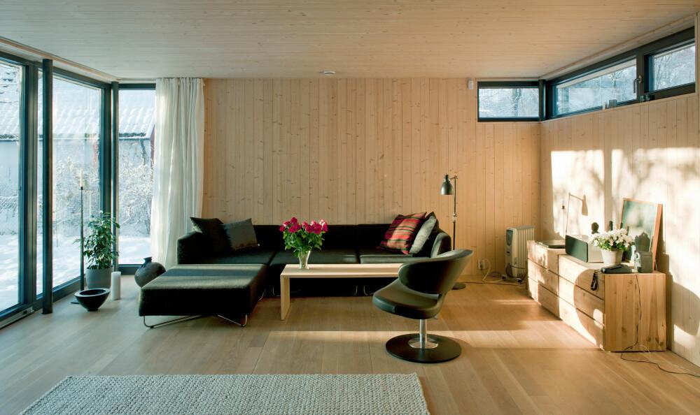 MYE VINDUER: Selv om det er et passivhus med strenge krav til energitap, har boligen en utstrakt bruk av vindusflater, særlig i fasaden.