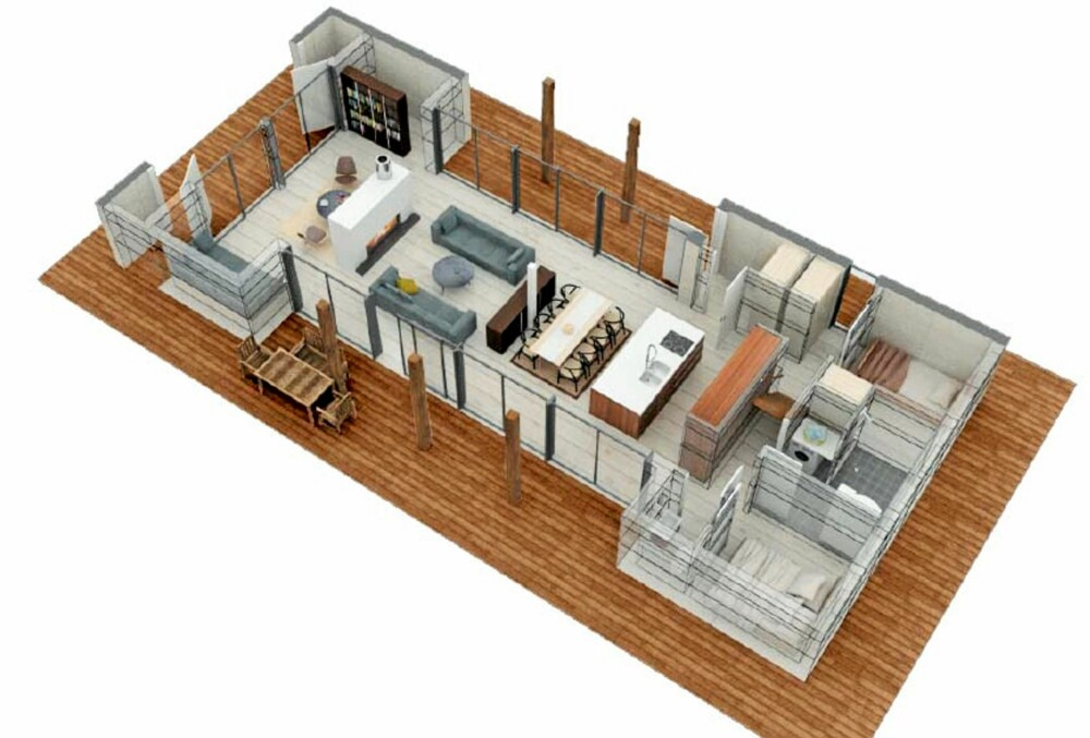 NYTENKING: Her ser du et eksempel på hvordan en moderne, åpen hyttegrunnplan er bygget opp. Her er det  frie soner, ikke så mange lukkete rom som vi er vant til.