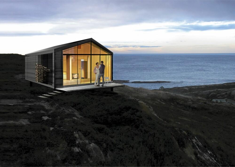 FULL UTSIKT: 800-hytta fra Vikinghytter har glass i hele fasaden.