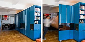"""UTBRETTBAR: Det blå """"skapet"""" midt i leiligheten skjuler det meste av innredningen."""
