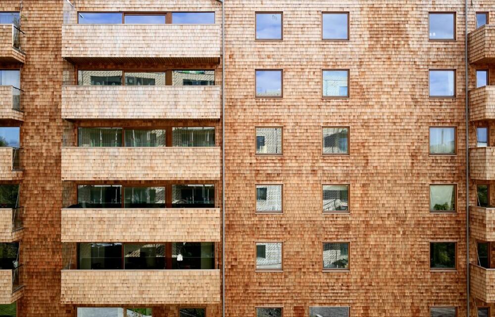 SPESIELT UTTRYKK: En fasade kledd i trespon skaper et spesielt uttrykk.