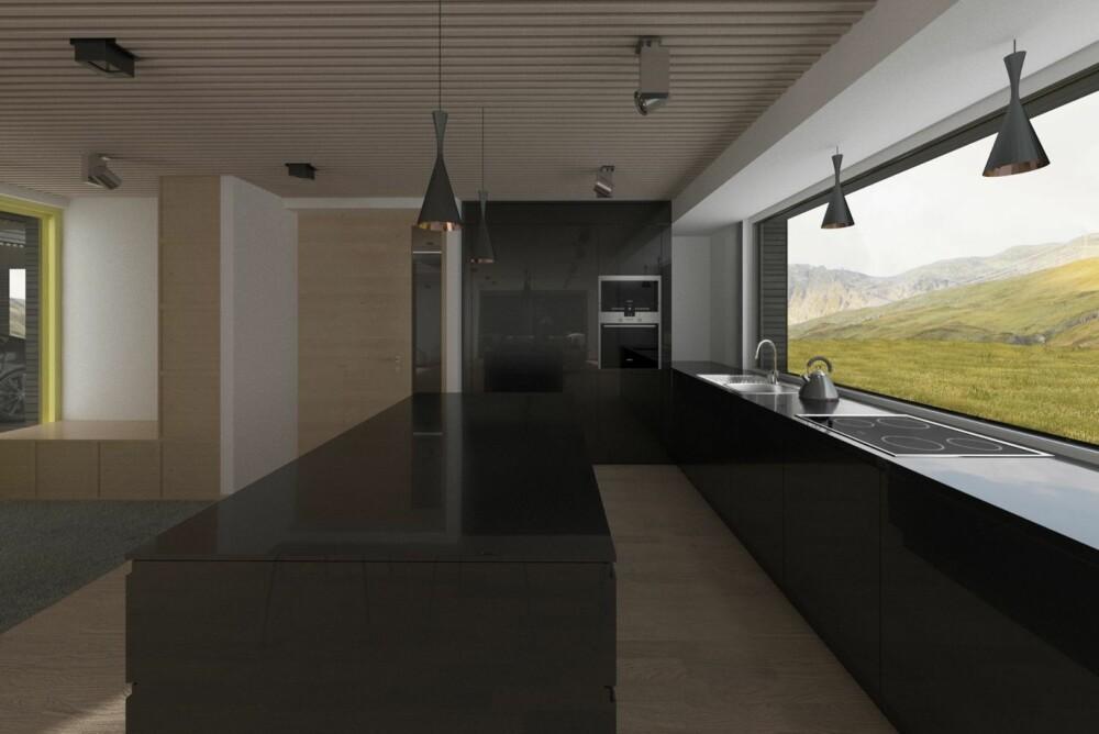 KJØKKEN: Det arkitekttegnete kjøkkenet fås i hvit eller svart, malt MDF med integrerte håndtak, 80 cm bred platetopp og ventilator som er skjult i himlingen. Benkeplaten i 13 mm High Pressure Laminate.