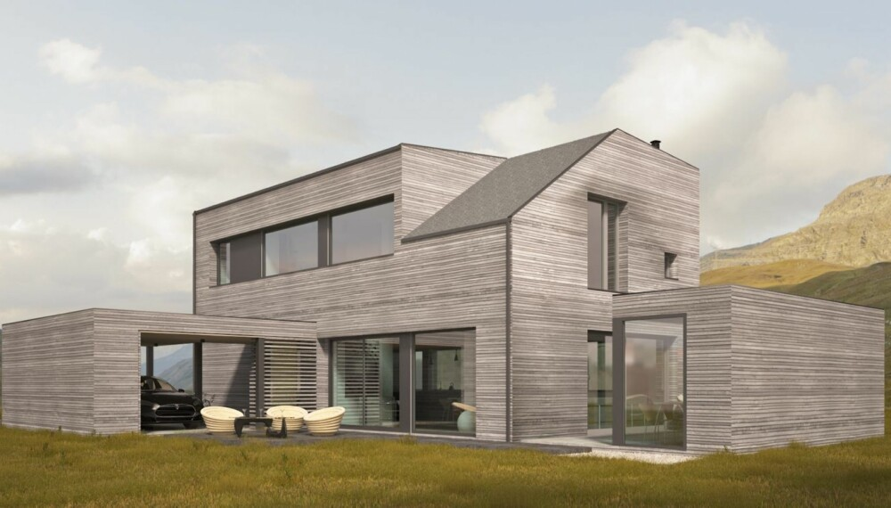 NORGES FØRSTE: I mai ferdigstilles det som trolig er Norges første arkitekttegnete modulhus i Stjørdal.