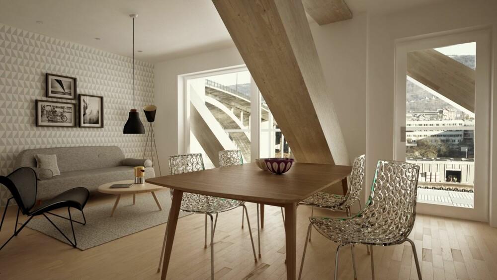 SOLGT: Det er i øyeblikket solgt 32 av 62 leiligheter i Damsgårdssundet hvor trehuset skal ligge.
