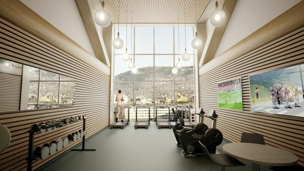 TRENINGSROM: I 9. etasje blir det et felles treningsrom, med utsikt over byen og fjorden. Mot sjøen er det også lagt opp til havnepromenade og båthavn, mens det mot Damsgårdsveien etableres et grøntareal.