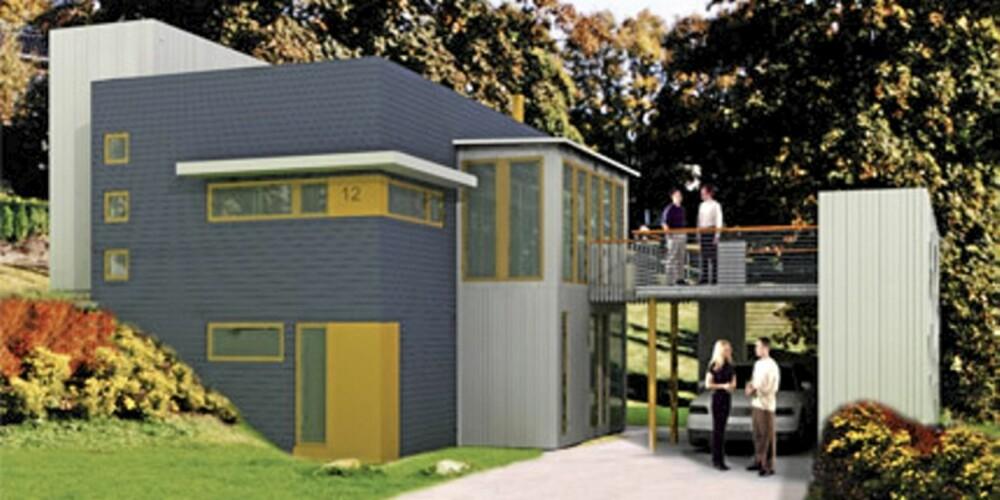 KARAKTER 2F: Dette huset fra Systemhus er en liten utfordring for snekkeren.