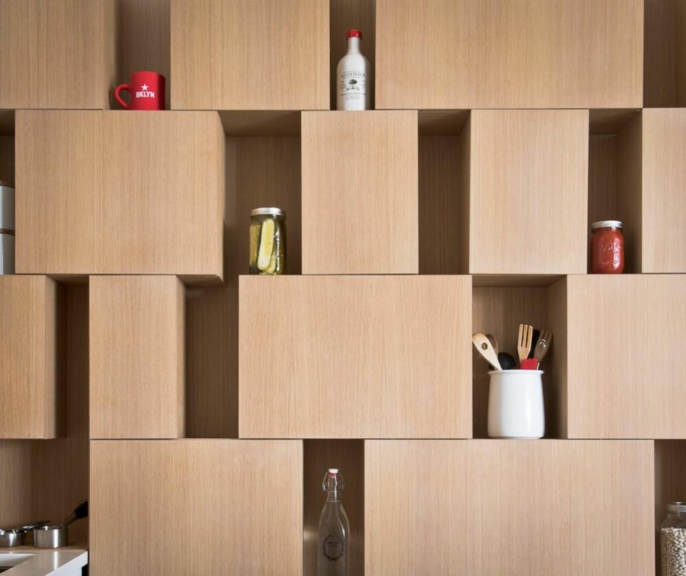 SYNLIG: De asymetriske boksene skaper små glipper som gjør hele veggen til en settekasse.