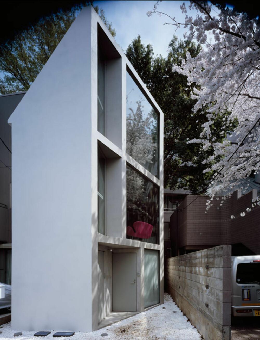 PÅ SKRÅPLANET: Dette huset ble tegnet i skråvinkel mot veien foran for å utnytte naboens store tomt.