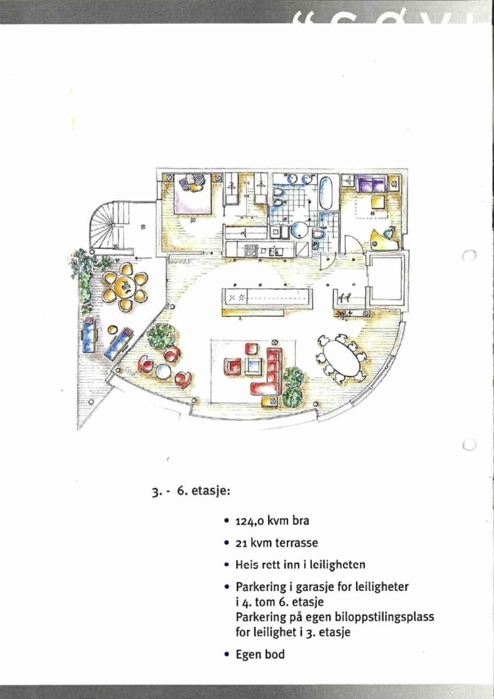 BÅDE ÅPEN OG LUKKET: Her ser du hvordan den åpne kjøkkensonen ligger plassert midt i leiligheten.