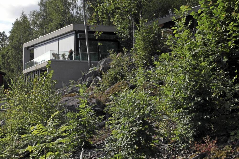 LETT SYNLIGE KVALITETER: Murvillaen titter opp over vegetasjonen og stuen har topp utsikt - uten dominere i området.