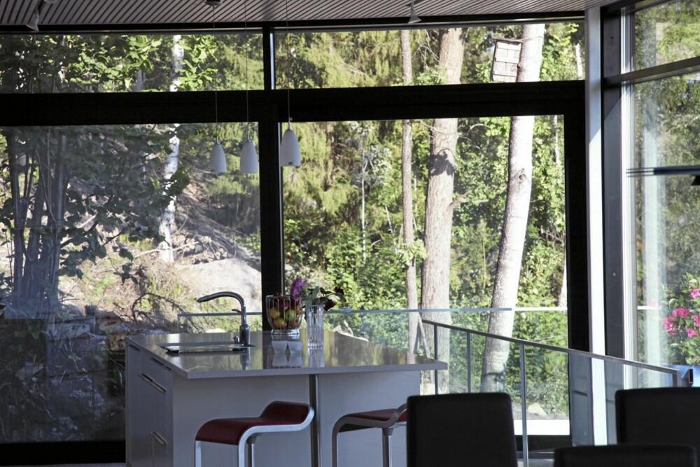 KORT TIL SKOGS: Innefra boligen er det utmerket kontakt med den grønnne skråningen som huset ligger i.