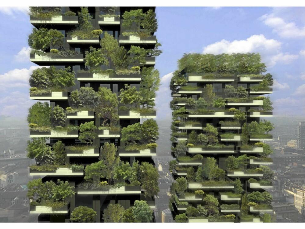 GRØNTHUS: Slik ser arkitektene for seg at tårnene i Milano kommer til å se ut når de er ferdigstilte.
