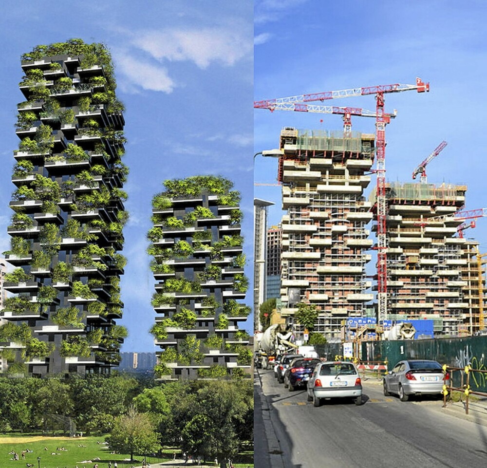 MILANO: I mote-byen bygges to helt unike skyskrapere.