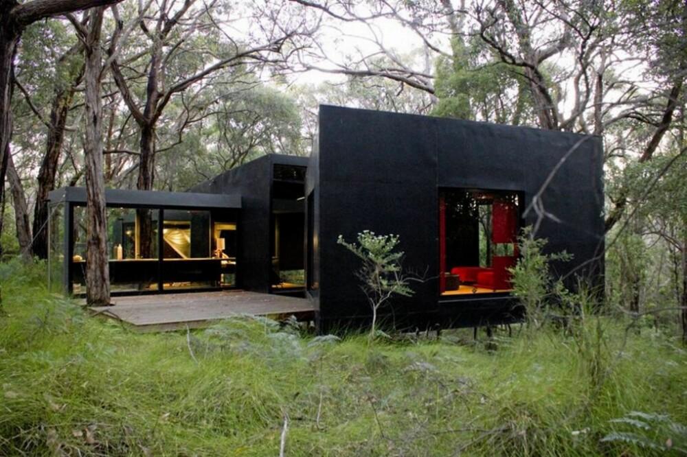 BEKSVART: Arkitekten hadde som mål at den kompakte hytta skulle smelte sammen med den tette skogen rundt.