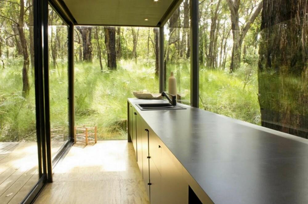 KONTAKT MED NATUREN: På kjøkkenet, som er plasser i en glasskube, er det lite som skiller inne fra ute.