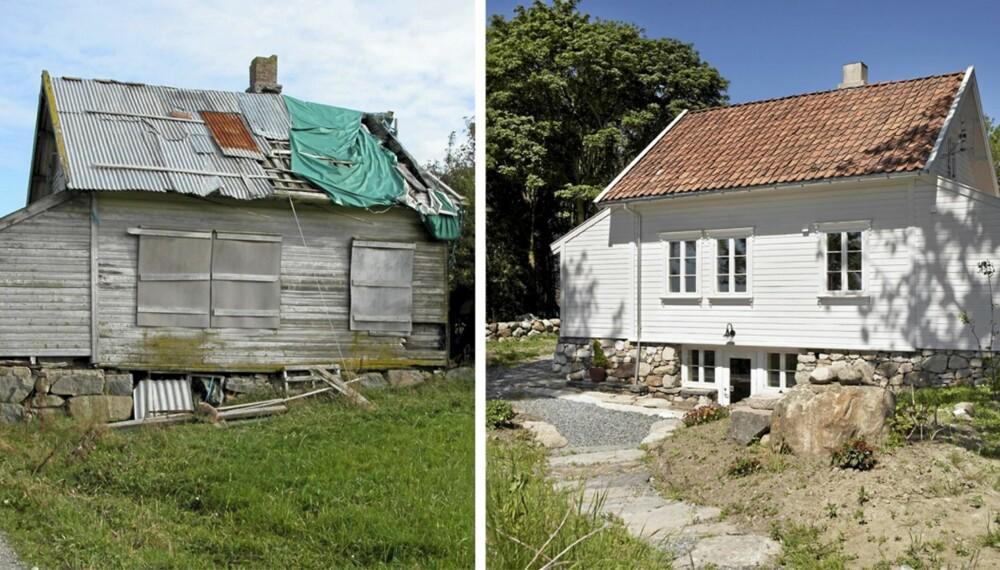 RESTAURERT FRA TOPP TIL TÅ. Slik så huset ut før det ble flyttet på rot. Eierne restaurerte det i samarbeid med sivilarkitekt MNAL Ole Serinius Trodahl.