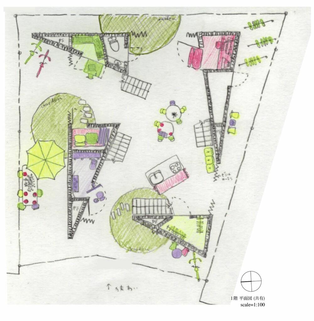 UTFORMING: Det er det japanske arkitektkontoret Ondesign & Partners architect office som har stått for utformingen. Leilighetene er bygget i trekantform.