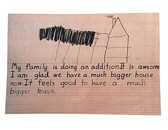 SKISSE: Et av barna tegnet denne skissen etter at tilbygget var bygget. Barna var fornøyd med mer plass.